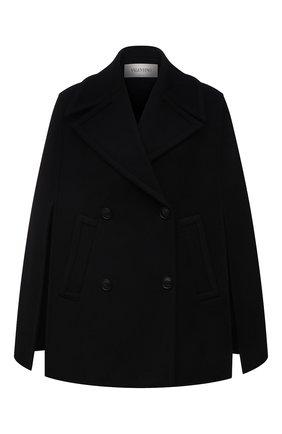 Женская шерстяной кейп VALENTINO черного цвета, арт. WB0CG2J06PJ | Фото 1 (Длина (верхняя одежда): Короткие; Материал внешний: Шерсть; Стили: Гламурный)