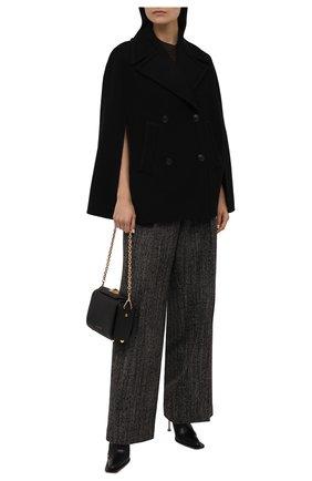 Женская шерстяной кейп VALENTINO черного цвета, арт. WB0CG2J06PJ | Фото 2 (Длина (верхняя одежда): Короткие; Материал внешний: Шерсть; Стили: Гламурный)