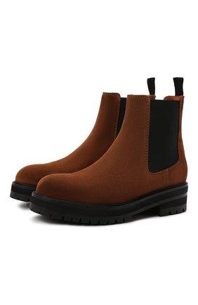 Женские замшевые ботинки POLO RALPH LAUREN коричневого цвета, арт. 818819503 | Фото 1 (Материал внутренний: Натуральная кожа; Каблук высота: Низкий; Подошва: Платформа; Женское Кросс-КТ: Челси-ботинки)