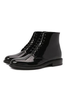 Женские кожаные ботинки army SAINT LAURENT черного цвета, арт. 632407/1YZ00 | Фото 1 (Материал внутренний: Натуральная кожа; Подошва: Плоская; Каблук высота: Низкий; Женское Кросс-КТ: Военные ботинки)