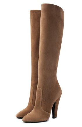 Женские замшевые сапоги SAINT LAURENT коричневого цвета, арт. 670714/27D00 | Фото 1 (Материал внутренний: Натуральная кожа; Высота голенища: Высокие, Средние; Подошва: Плоская; Каблук высота: Высокий; Материал внешний: Замша; Каблук тип: Устойчивый)