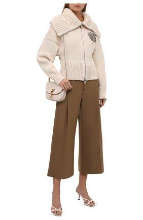 Женский кардиган из шерсти и кашемира ALEXANDER MCQUEEN кремвого цвета, арт. 679395/Q1AWS | Фото 2 (Материал внешний: Шерсть; Рукава: Длинные; Длина (для топов): Стандартные; Стили: Гламурный; Женское Кросс-КТ: Кардиган-одежда)
