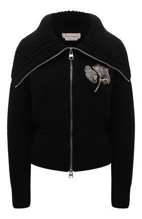 Женский кардиган из шерсти и кашемира ALEXANDER MCQUEEN черного цвета, арт. 679395/Q1AWS   Фото 1 (Материал внешний: Шерсть; Длина (для топов): Стандартные; Рукава: Длинные; Стили: Гламурный; Женское Кросс-КТ: Кардиган-одежда)