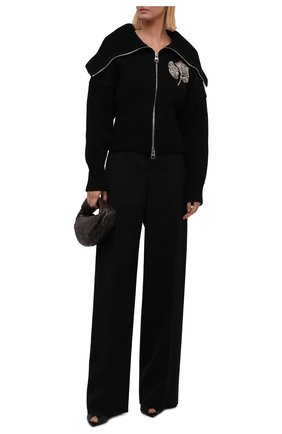 Женский кардиган из шерсти и кашемира ALEXANDER MCQUEEN черного цвета, арт. 679395/Q1AWS   Фото 2 (Материал внешний: Шерсть; Длина (для топов): Стандартные; Рукава: Длинные; Стили: Гламурный; Женское Кросс-КТ: Кардиган-одежда)