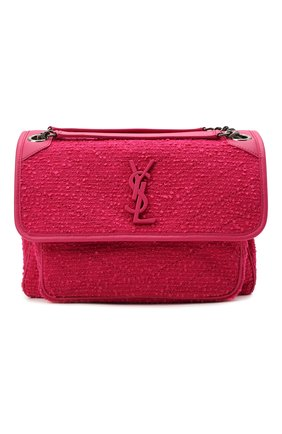Женская сумка niki medium SAINT LAURENT фуксия цвета, арт. 633158/2RL44 | Фото 1 (Материал: Текстиль; Размер: medium; Ремень/цепочка: На ремешке; Сумки-технические: Сумки через плечо)