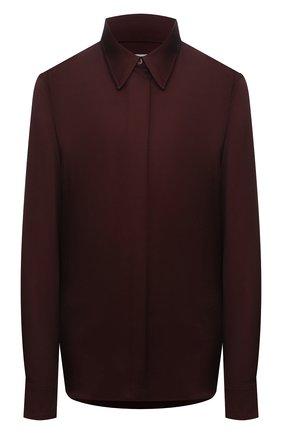 Женская рубашка из вискозы DRIES VAN NOTEN бордового цвета, арт. 212-010759-3159 | Фото 1 (Материал внешний: Вискоза; Стили: Гламурный; Принт: Без принта; Женское Кросс-КТ: Рубашка-одежда; Рукава: Длинные; Длина (для топов): Стандартные)