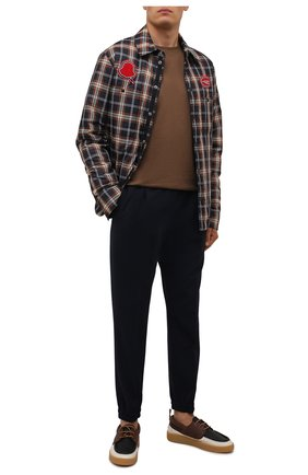 Мужские кожаные кеды LANVIN разноцветного цвета, арт. FM-FSDY00-ELAN-A21 | Фото 2 (Материал внутренний: Натуральная кожа; Подошва: Массивная)