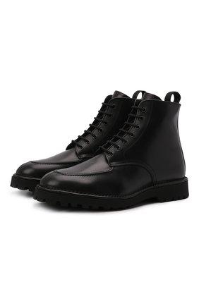 Мужские кожаные ботинки KENZO черного цвета, арт. FB65BT013L59 | Фото 1 (Материал утеплителя: Натуральный мех; Подошва: Плоская; Мужское Кросс-КТ: Ботинки-обувь, зимние ботинки, Байкеры-обувь)
