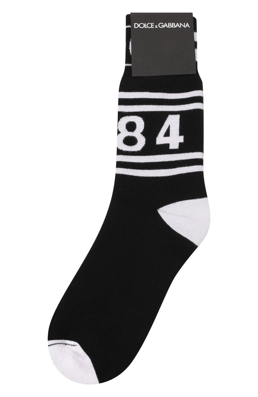 Мужские хлопковые носки DOLCE & GABBANA черного цвета, арт. GX370T/JACBP   Фото 1 (Кросс-КТ: бельё; Материал внешний: Хлопок)