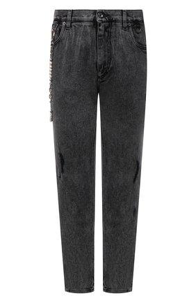 Мужские джинсы DOLCE & GABBANA серого цвета, арт. GWTLAZ/G8EG8   Фото 1 (Материал внешний: Хлопок; Длина (брюки, джинсы): Стандартные; Кросс-КТ: Деним; Детали: Потертости; Силуэт М (брюки): Прямые; Стили: Гранж)