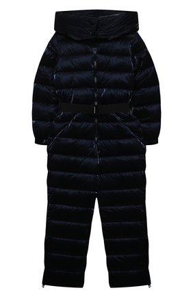 Детский пуховый комбинезон FREEDOMDAY темно-синего цвета, арт. IFRJG880AB-782-RD | Фото 1 (Материал подклада: Синтетический материал; Материал утеплителя: Пух и перо; Материал внешний: Синтетический материал; Девочки Кросс-КТ: Комбинезон-верхняя одежда; Рукава: Длинные)