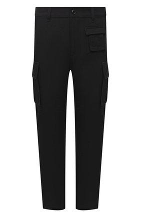 Мужские брюки-карго DIESEL черного цвета, арт. A03229/0BFAN | Фото 1 (Длина (брюки, джинсы): Стандартные; Материал внешний: Шерсть, Синтетический материал; Случай: Повседневный; Силуэт М (брюки): Карго; Стили: Гранж)