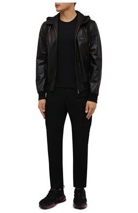 Мужские брюки-карго DIESEL черного цвета, арт. A03229/0BFAN | Фото 2 (Длина (брюки, джинсы): Стандартные; Материал внешний: Шерсть, Синтетический материал; Случай: Повседневный; Силуэт М (брюки): Карго; Стили: Гранж)