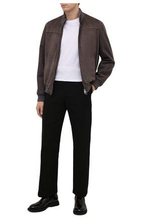 Мужской комбинированный бомбер ANDREA CAMPAGNA коричневого цвета, арт. A3T107/5603 | Фото 2 (Материал подклада: Вискоза; Кросс-КТ: Куртка; Стили: Кэжуэл; Принт: Без принта; Мужское Кросс-КТ: Кожа и замша; Длина (верхняя одежда): Короткие; Рукава: Длинные)