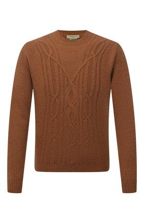 Мужской кашемировый свитер CORNELIANI светло-коричневого цвета, арт. 88M53A-1825165/00   Фото 1 (Длина (для топов): Стандартные; Рукава: Длинные; Материал внешний: Кашемир, Шерсть; Мужское Кросс-КТ: Свитер-одежда; Принт: Без принта; Стили: Кэжуэл)