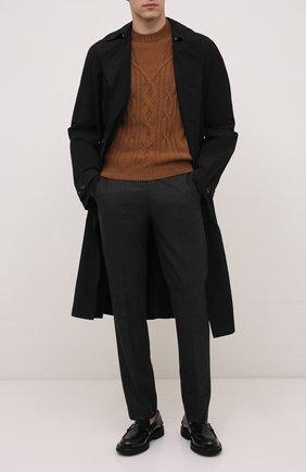 Мужской кашемировый свитер CORNELIANI светло-коричневого цвета, арт. 88M53A-1825165/00   Фото 2 (Длина (для топов): Стандартные; Рукава: Длинные; Материал внешний: Кашемир, Шерсть; Мужское Кросс-КТ: Свитер-одежда; Принт: Без принта; Стили: Кэжуэл)