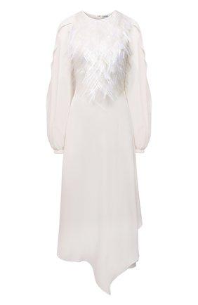 Женское шелковое платье LOEWE белого цвета, арт. S540Y09XBE | Фото 1 (Материал подклада: Шелк; Длина Ж (юбки, платья, шорты): Макси; Рукава: Длинные; Материал внешний: Шелк; Стили: Романтичный; Женское Кросс-КТ: Платье-одежда)