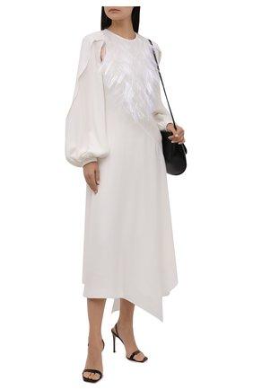 Женское шелковое платье LOEWE белого цвета, арт. S540Y09XBE | Фото 2 (Материал подклада: Шелк; Длина Ж (юбки, платья, шорты): Макси; Рукава: Длинные; Материал внешний: Шелк; Стили: Романтичный; Женское Кросс-КТ: Платье-одежда)