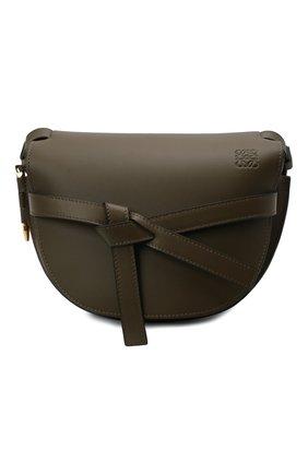 Женская сумка gate small LOEWE темно-зеленого цвета, арт. A650T20X40 | Фото 1 (Размер: small; Ремень/цепочка: На ремешке; Материал: Натуральная кожа; Сумки-технические: Сумки через плечо)