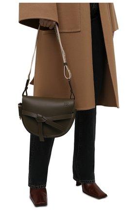 Женская сумка gate small LOEWE темно-зеленого цвета, арт. A650T20X40 | Фото 2 (Размер: small; Ремень/цепочка: На ремешке; Материал: Натуральная кожа; Сумки-технические: Сумки через плечо)