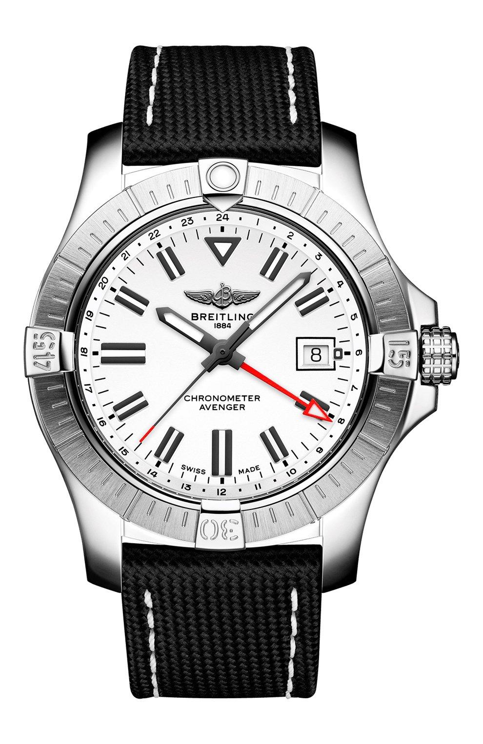 Мужские часы avenger automatic gmt 43 BREITLING бесцветного цвета, арт. A32397101A1X2   Фото 1 (Механизм: Автомат; Материал корпуса: Сталь; Цвет циферблата: Белый)