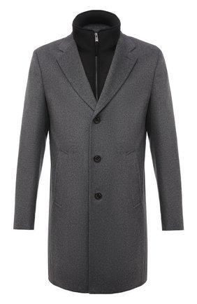 Мужской пальто из шерсти и кашемира BOSS серого цвета, арт. 50463051 | Фото 1 (Мужское Кросс-КТ: пальто-верхняя одежда; Стили: Кэжуэл, Классический; Длина (верхняя одежда): До середины бедра; Материал внешний: Шерсть; Рукава: Длинные)