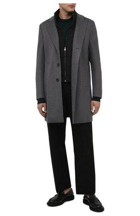 Мужской пальто из шерсти и кашемира BOSS серого цвета, арт. 50463051 | Фото 2 (Мужское Кросс-КТ: пальто-верхняя одежда; Стили: Кэжуэл, Классический; Длина (верхняя одежда): До середины бедра; Материал внешний: Шерсть; Рукава: Длинные)