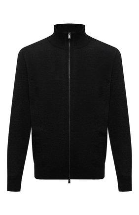 Мужской шерстяной кардиган BOSS черного цвета, арт. 50435350 | Фото 1 (Материал внешний: Шерсть; Рукава: Длинные; Длина (для топов): Стандартные; Мужское Кросс-КТ: Кардиган-одежда; Стили: Кэжуэл)
