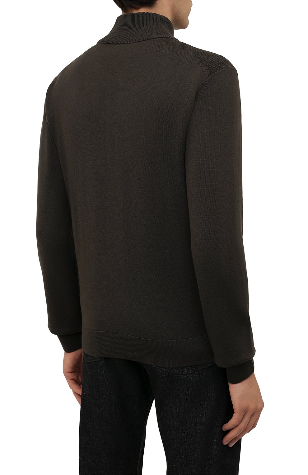 Мужской шерстяной кардиган BOSS хаки цвета, арт. 50435350 | Фото 4 (Мужское Кросс-КТ: Кардиган-одежда; Материал внешний: Шерсть; Рукава: Длинные; Длина (для топов): Стандартные; Стили: Кэжуэл)