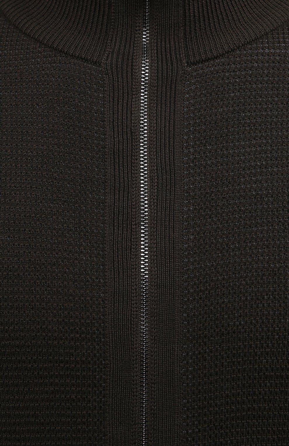 Мужской шерстяной кардиган BOSS хаки цвета, арт. 50435350 | Фото 5 (Мужское Кросс-КТ: Кардиган-одежда; Материал внешний: Шерсть; Рукава: Длинные; Длина (для топов): Стандартные; Стили: Кэжуэл)