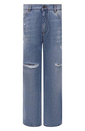 Мужские джинсы DOLCE & GABBANA синего цвета, арт. GWVNXD/G8E00   Фото 1 (Материал внешний: Хлопок; Длина (брюки, джинсы): Стандартные; Кросс-КТ: Деним; Детали: Потертости; Силуэт М (брюки): Широкие; Стили: Гранж)
