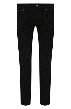 Мужские джинсы DOLCE & GABBANA темно-серого цвета, арт. GYC4LD/G8ED1   Фото 1 (Длина (брюки, джинсы): Стандартные; Материал внешний: Хлопок; Кросс-КТ: Деним; Силуэт М (брюки): Узкие; Стили: Гламурный)