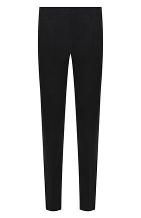 Мужские шерстяные брюки DOLCE & GABBANA черного цвета, арт. GY10MT/FUBEC   Фото 1 (Материал внешний: Шерсть; Длина (брюки, джинсы): Стандартные; Материал подклада: Вискоза; Случай: Формальный; Стили: Классический)