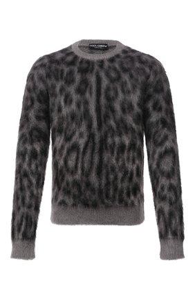 Мужской свитер DOLCE & GABBANA серого цвета, арт. GXH60T/JCML0   Фото 1 (Материал внешний: Шерсть; Рукава: Длинные; Длина (для топов): Стандартные; Мужское Кросс-КТ: Свитер-одежда; Стили: Гламурный; Принт: С принтом)
