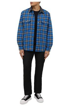 Мужская утепленная куртка DIESEL синего цвета, арт. A03340/0CEAY | Фото 2 (Длина (верхняя одежда): Короткие; Рукава: Длинные; Материал внешний: Хлопок; Материал подклада: Синтетический материал; Кросс-КТ: Куртка; Мужское Кросс-КТ: утепленные куртки; Стили: Гранж)