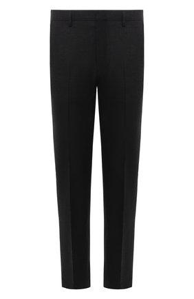 Мужские шерстяные брюки DRIES VAN NOTEN темно-серого цвета, арт. 212-020921-3183   Фото 1 (Длина (брюки, джинсы): Стандартные; Материал внешний: Шерсть; Материал подклада: Вискоза; Случай: Повседневный; Стили: Классический)
