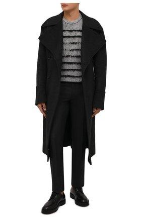 Мужские шерстяные брюки DRIES VAN NOTEN темно-серого цвета, арт. 212-020921-3183   Фото 2 (Длина (брюки, джинсы): Стандартные; Материал внешний: Шерсть; Материал подклада: Вискоза; Случай: Повседневный; Стили: Классический)