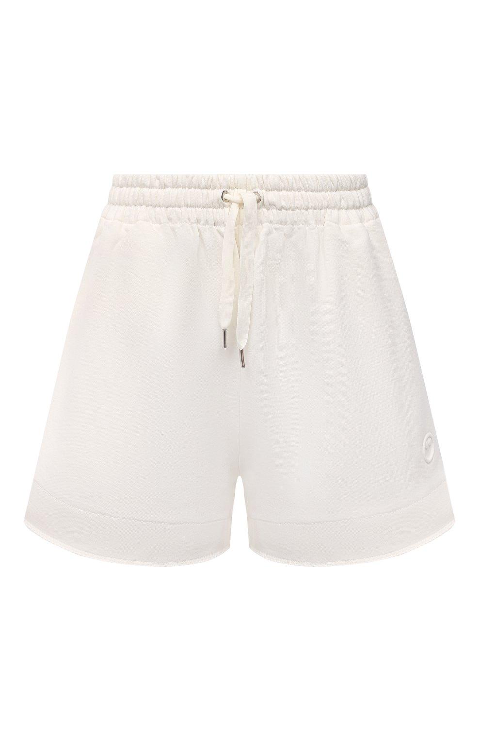 Женские хлопковые шорты AZ FACTORY белого цвета, арт. SH0004/0C1 | Фото 1 (Женское Кросс-КТ: Шорты-одежда; Длина Ж (юбки, платья, шорты): Мини; Кросс-КТ: Трикотаж; Материал внешний: Хлопок; Стили: Спорт-шик)