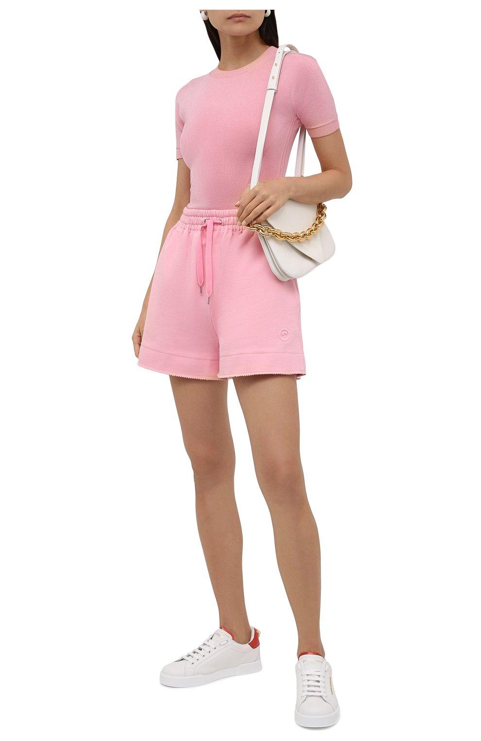 Женские хлопковые шорты AZ FACTORY светло-розового цвета, арт. SH0004/0C1 | Фото 2 (Женское Кросс-КТ: Шорты-одежда; Длина Ж (юбки, платья, шорты): Мини; Кросс-КТ: Трикотаж; Материал внешний: Хлопок; Стили: Спорт-шик)