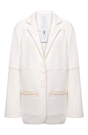 Женский хлопковый жакет AZ FACTORY белого цвета, арт. JKT021/SW2 | Фото 1 (Рукава: Длинные; Длина (для топов): Удлиненные; Материал внешний: Хлопок; Стили: Кэжуэл; Случай: Повседневный; Женское Кросс-КТ: Жакет-одежда; 1-2-бортные: Однобортные)