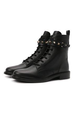 Женские кожаные ботинки rockstud VALENTINO черного цвета, арт. WW2S0CV2/VRV | Фото 1 (Каблук высота: Низкий; Подошва: Плоская; Материал внутренний: Натуральная кожа; Женское Кросс-КТ: Военные ботинки)