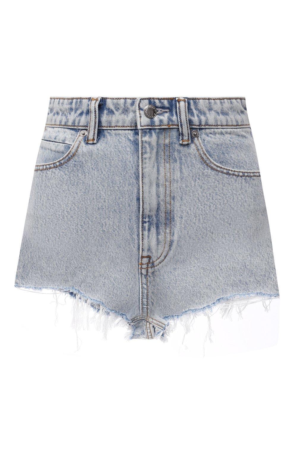 Женские джинсовые шорты DENIM X ALEXANDER WANG голубого цвета, арт. 4DC4214014   Фото 1 (Женское Кросс-КТ: Шорты-одежда; Кросс-КТ: Деним; Длина Ж (юбки, платья, шорты): Мини; Материал внешний: Хлопок; Стили: Кэжуэл)