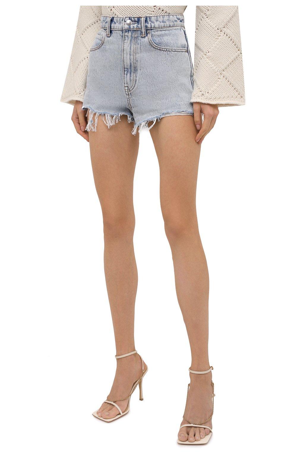 Женские джинсовые шорты DENIM X ALEXANDER WANG голубого цвета, арт. 4DC4214014   Фото 3 (Женское Кросс-КТ: Шорты-одежда; Кросс-КТ: Деним; Длина Ж (юбки, платья, шорты): Мини; Материал внешний: Хлопок; Стили: Кэжуэл)