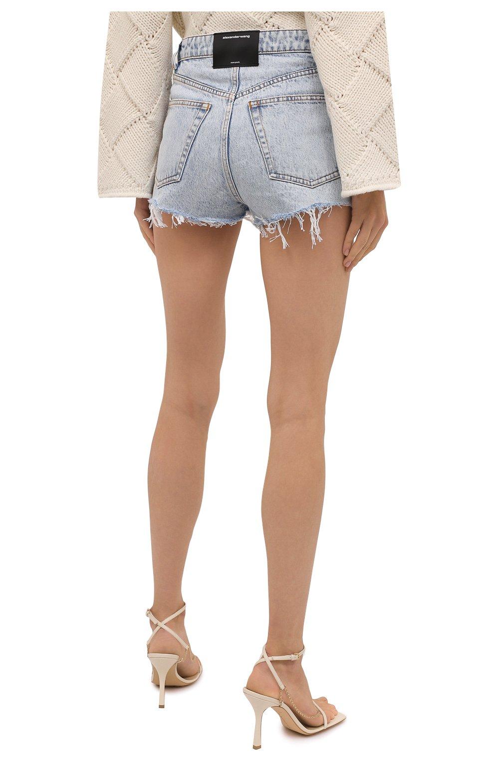 Женские джинсовые шорты DENIM X ALEXANDER WANG голубого цвета, арт. 4DC4214014   Фото 4 (Женское Кросс-КТ: Шорты-одежда; Кросс-КТ: Деним; Длина Ж (юбки, платья, шорты): Мини; Материал внешний: Хлопок; Стили: Кэжуэл)