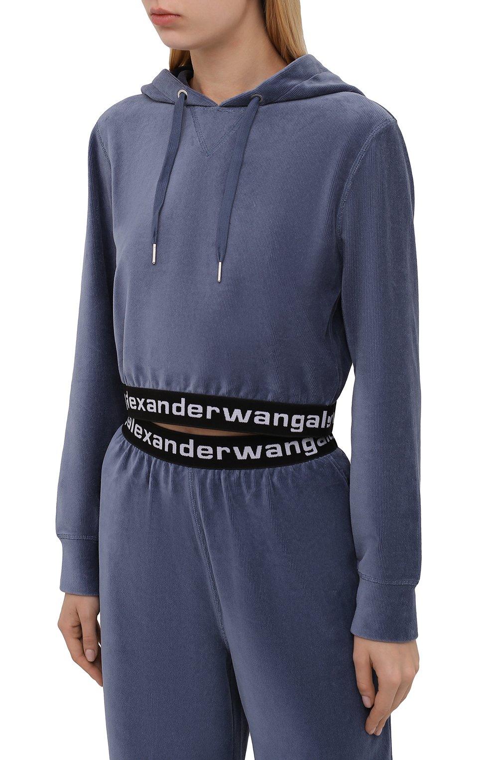 Женский худи ALEXANDERWANG.T тёмно-голубого цвета, арт. 4CC1211197 | Фото 3 (Рукава: Длинные; Материал внешний: Синтетический материал, Хлопок; Женское Кросс-КТ: Худи-спорт, Худи-одежда; Стили: Спорт-шик; Длина (для топов): Укороченные)