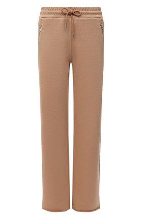 Женские хлопковые брюки DRIES VAN NOTEN бежевого цвета, арт. 212-011122-3612 | Фото 1 (Материал внешний: Хлопок; Стили: Спорт-шик; Женское Кросс-КТ: Брюки-одежда; Кросс-КТ: Трикотаж; Силуэт Ж (брюки и джинсы): Прямые; Длина (брюки, джинсы): Удлиненные)