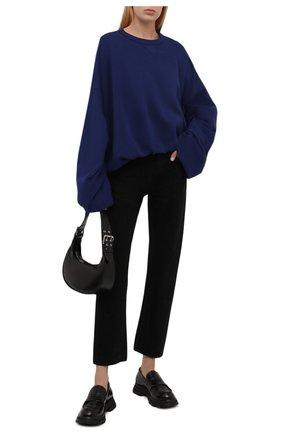 Женский хлопковый свитшот DRIES VAN NOTEN синего цвета, арт. 212-011115-3608 | Фото 2 (Материал внешний: Хлопок; Рукава: Длинные; Длина (для топов): Стандартные; Стили: Спорт-шик; Женское Кросс-КТ: Свитшот-одежда)
