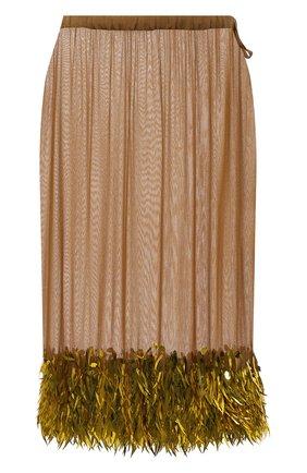 Женская юбка из вискозы DRIES VAN NOTEN бежевого цвета, арт. 212-010837-3293 | Фото 1 (Длина Ж (юбки, платья, шорты): Миди; Материал внешний: Вискоза; Стили: Гламурный; Женское Кросс-КТ: Юбка-одежда)