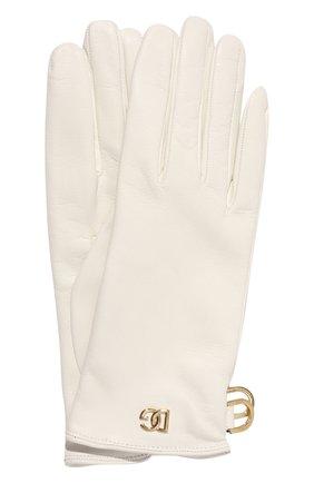Женские кожаные перчатки DOLCE & GABBANA белого цвета, арт. BF0189/AQ630   Фото 1