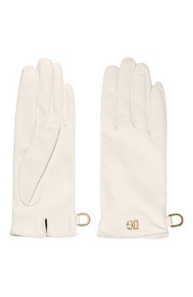 Женские кожаные перчатки DOLCE & GABBANA белого цвета, арт. BF0189/AQ630   Фото 2